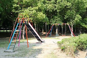 Swing and slide fixed to ground