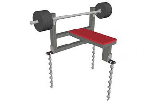 Fitness equipment fixed down with Hellanker safety anchors