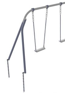 Metal swing with Hellanker ground anchors