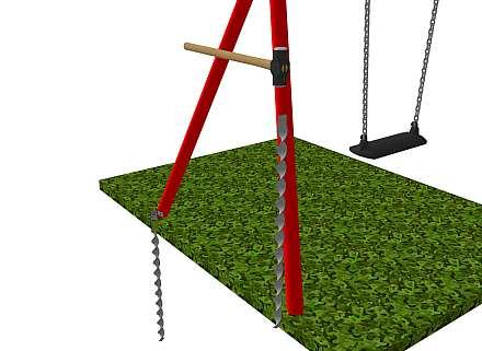 Anchoring a metal swing set -1